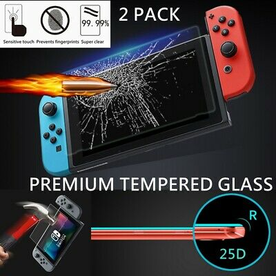 For Nintendo Switch Console PREMIUM TEMPERED GLASS Screen Protector Cover 2 Pack
