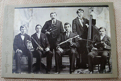 Cabinet Photo Portrait Musicians Posing With Their Instruments Austin Minnesota