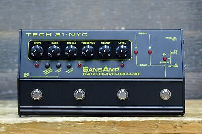 Tech 21 SansAmp Bass Driver Deluxe Dual-Input Analog Bass Preamp/DI Effect Pedal