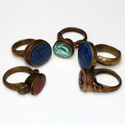 Top Lot Of 5 Late Medieval Near East Bronze Seal Rings