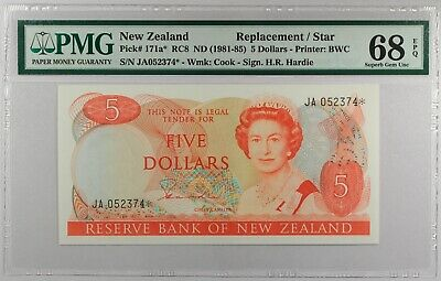 New Zealand 5 Dollars-ND(1985-89), P-171a PMG 68 EPQ S. GEM UNC Replacement Star
