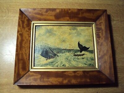 Antique Marine Oil Painting Whaling Ship 19Th Century Art.