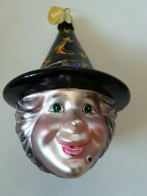Halloween Glass Ornament Kind Face Witch Head Gray Hair Old World Christmas