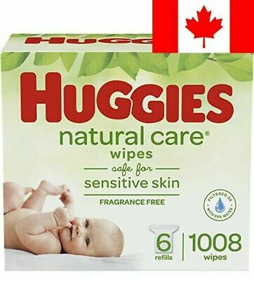 Huggies Natural Care Unscented Baby Wipes, Sensitive, 6 Refill Packs (1008 Wi...
