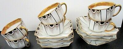 1900-1919 6 Antique German Art Deco Gold and Black Demi Cups and Saucers Sets