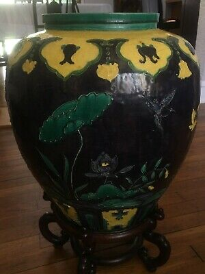 Antique Vintage MASSIVE Chinese FAHUA Porcelain Jar Vase Ming
