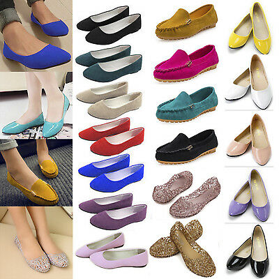 Women Flats Ballerina Pumps Ballet Dolly Csaual Dress Shoes Slip On Loafers Size