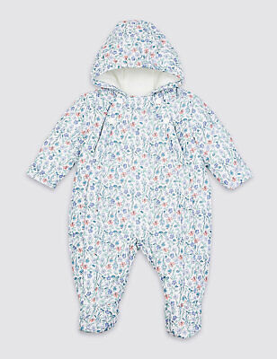 Marks and Spencer Floral Print White Green Winter Snowsuit Poppers 12-18 Months