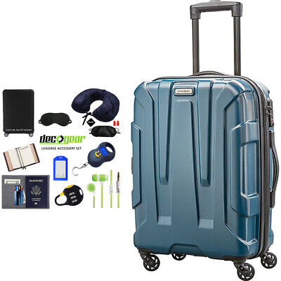 """Samsonite Centric Hardside 20"""" Carry-On Luggage Teal + Luggage Accessory Kit"""