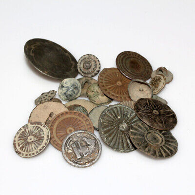 Nice Lot Of 25 European Medieval And Late Medieval Bronze Buttons