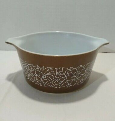 Vintage Pyrex Woodland 1 Qt Brown and White 473-B Round CasseroleDish or Bowl