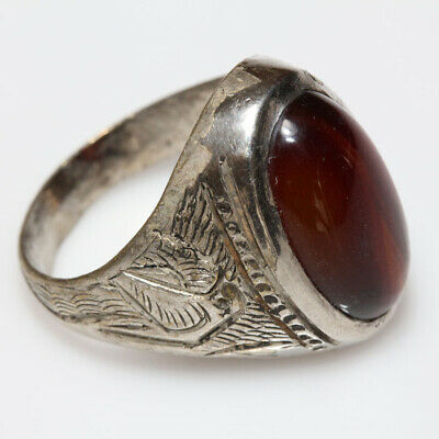 MASSIVE-Intact Late Post Medieval Greek Silver Plated Ring With nice Stone