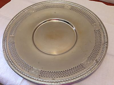 "Vintage SILVER PLATE EARLY 20TH CENTURY ROUND SERVING TRAY 10"" PLATE"
