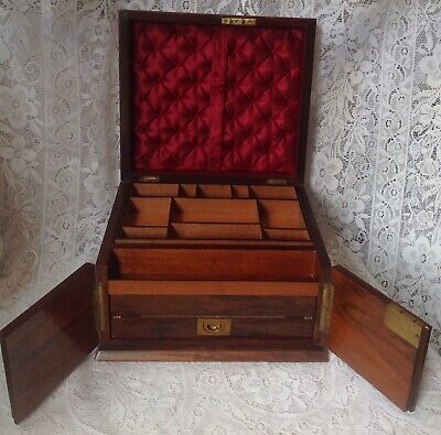 C1850 Victorian Burr Walnut Ladies Jewellery & Writing Box Slope