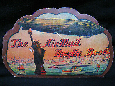 old sewing NEEDLE CARD vintage STATUTE OF LIBERTY The AIRMAIL Needle Book sharps