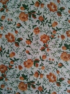 """Vintage Cotton Fabric 2+yds x 44""""  gold roses"""