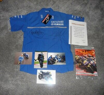 Moto GP Valentino Rossi Colin Edwards hand signed shirt autograph Yamaha genuine