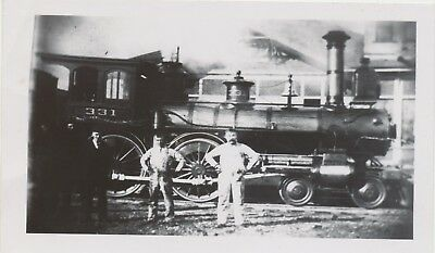 1889 Vtg Reprint Railroad Real Photo 4-4-0 Train #331 Beloit, WI on Kodak Velox