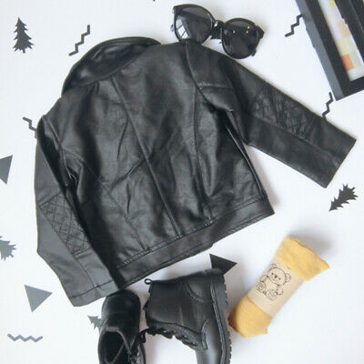 Kids Infant Toddler Baby Girls Autumn Coats Leather Jacket Outerwear Warm Thick