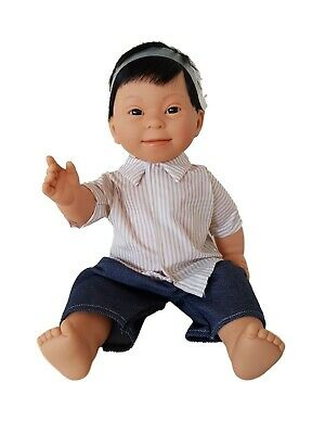 Asian Baby Boy Doll with Down Syndrome Facial Features Anatomically Correct 40cm