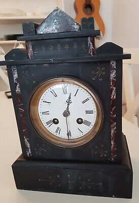French 1889 Black Slate and Marble Mantel Clock Spares and Repairs.