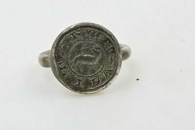 Medieval Knights Templar Seal Silver Ring WOLF Crusader Times 13th C size 7 3/4