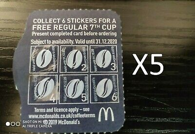 McDonalds 2x Coffee Loyalty Cards With Stickers