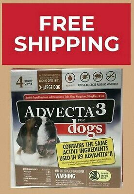 Advecta 3 Flea/Tick Topical Treatment for X-Large dogs over 50lbs, 4 Months Sup.