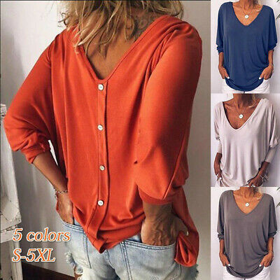 Women Fashion V Neck Long Sleeve Office Loose Casual Pure Color Summer T Shirts