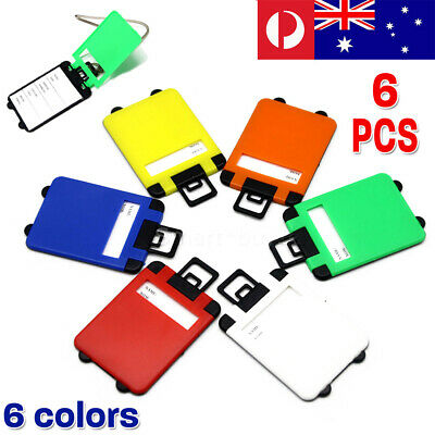 6x Colorful Luggage Tags Suitcase Labels Name Address ID Bag Baggage Tag Travel