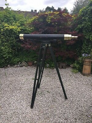 Large Antique Telescope, With Period Wooden Tripod (Browning - London) Astronomy