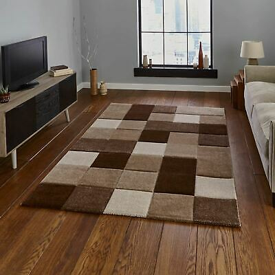 Contemporary Thick Soft Check Tile Design Carpet Brooklyn Rugs 646 Beige Brown