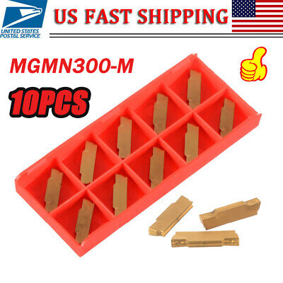 Drillpro 10pcs MGMN300-M Carbide Inserts 3mm Width for MGEHR//MGIVR Grooving Cut