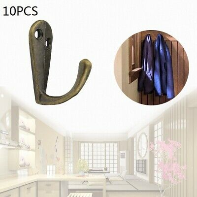 10 PCS Vintage Antique Style Cast Zinc Alloy Wall Coat Hooks Hat Hook Hall Towel