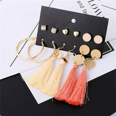 Bohemian Long Tassel Earrings Chic Solid Pendant Dangle Gift JA