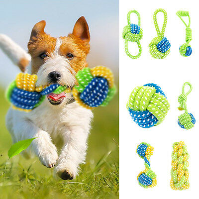 QA_ Interactive Dog Toys Pet Puppy Tug Play Chew Toy Braided Cotton Rope Fun G