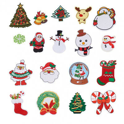 NBEADS 18PCS Iron on Christmas Patches Embroidered Sew-on 18pcs