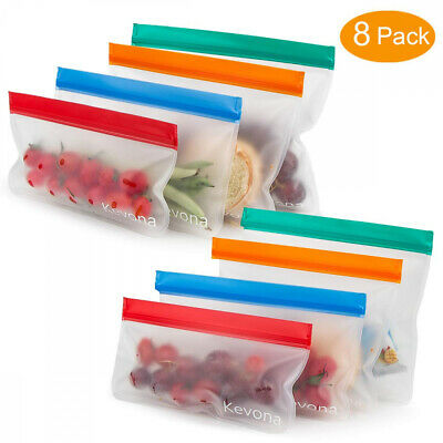 EXTRA THICK Reusable Food Storage Bags (8 pack) - Leakproof Reusable...