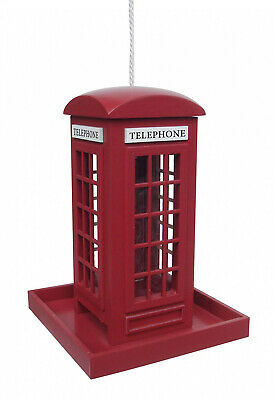 Traditional Red Telephone Phone Box Hanging Bird Feeder