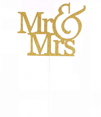 Handmade 1 Count Glitter Love Wedding Cake Decorating Toppers - MR Mrmrs Gold