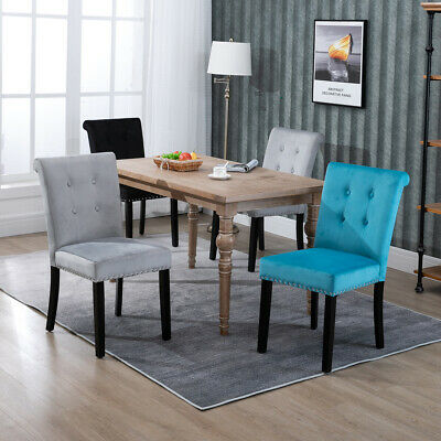 Velvet Dining Chairs Ring Back Tufted Upholstered Kitchen Chair Grey Beige Blue