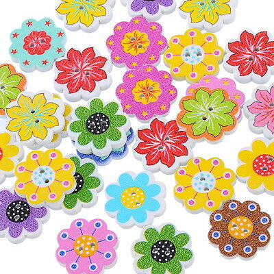 50PCs Wooden Buttons Mixed Color Flower 2-hole Sewing Scrapbooking Crafts Toys