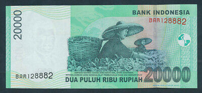 "Indonesia: 2004 20,000 Rupiah RARE LUCKY NUMBER ""888"". Pick 144a UNC"