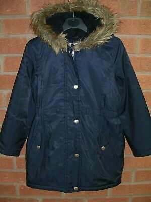 BLUEZOO Girls Navy Blue Winter Coat School Hooded Jacket Age 7-8 128cm