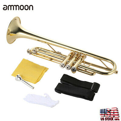 Trumpet Bb B Flat Brass Gold with Mouthpiece Strap Gloves Case for Beginner B2Q8