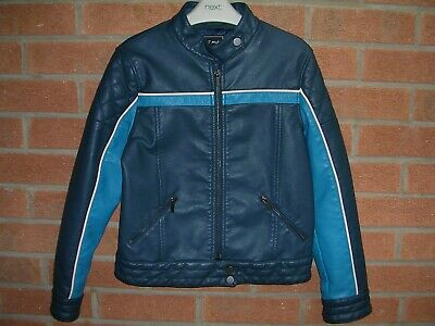NEXT Girls Blue Faux Leather Quilted Shoulder Biker Style Jacket Age 12