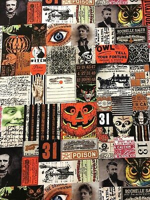 HALLOWEEN Materialize Tim Holtz Vintage Apothecary Gothic Poe Images Fabric BTHY