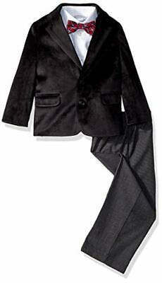 New Nautica Little Boys 4-Piece Formal Dress Wear Suit Set with Bow Tie, Black