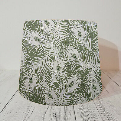 Empire Lampshade Handmade w/ Studio G Willow Green Peacock Feathers Birds Nature