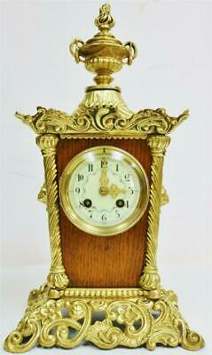 Antique Unusual Ornate French 8 Day Gong Striking Oak & Bronze Mantle Clock
